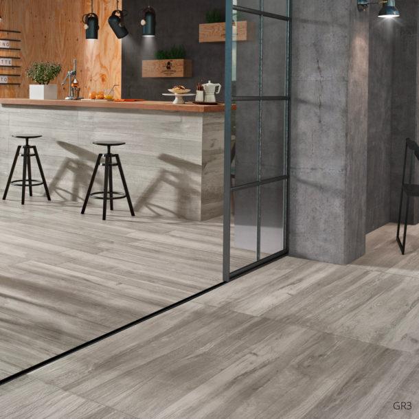 Grove Series Wood Effect Grey Porcelain Floor Tiles 1200x200mm