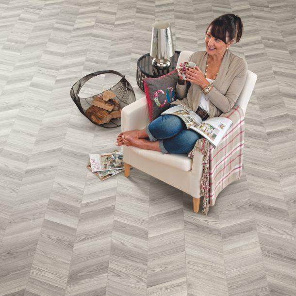 Elka 8mm Chevron Design Skye Oak ELV284 Laminate Flooring