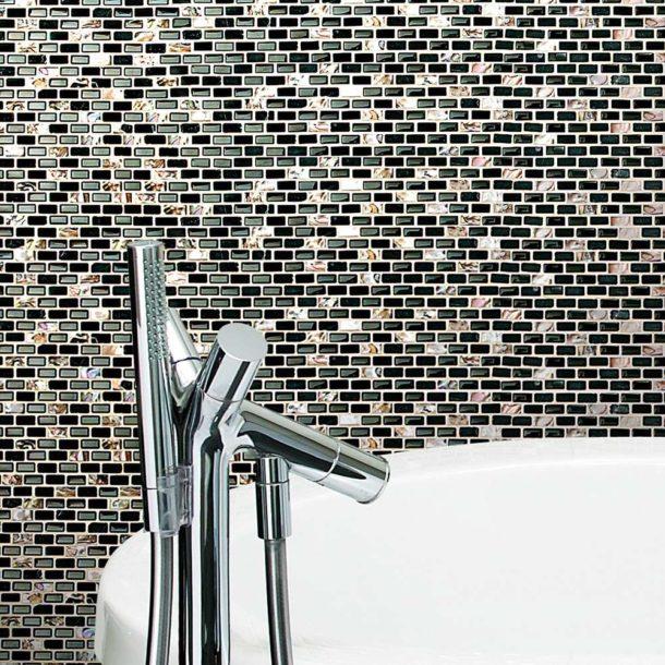 Dahli Black Brick Mosaic Wall & Floor Tiles 286x286x8