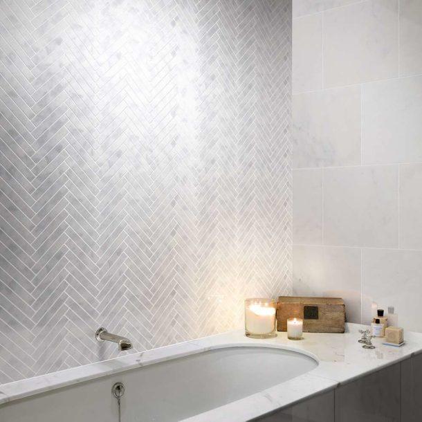 Carrara Nouvo Herringbone Mosaic Wall Tiles 415 x 210