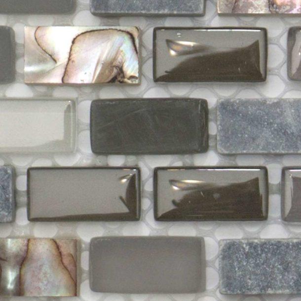 Dahli Grey Brick Mosaic Wall & Floor Tiles 286x286x8