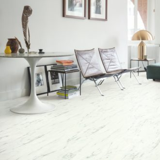 Marble Carrara White – Ambient Click luxury vinyl 1300 x 320 mm Tiles AMCL40136
