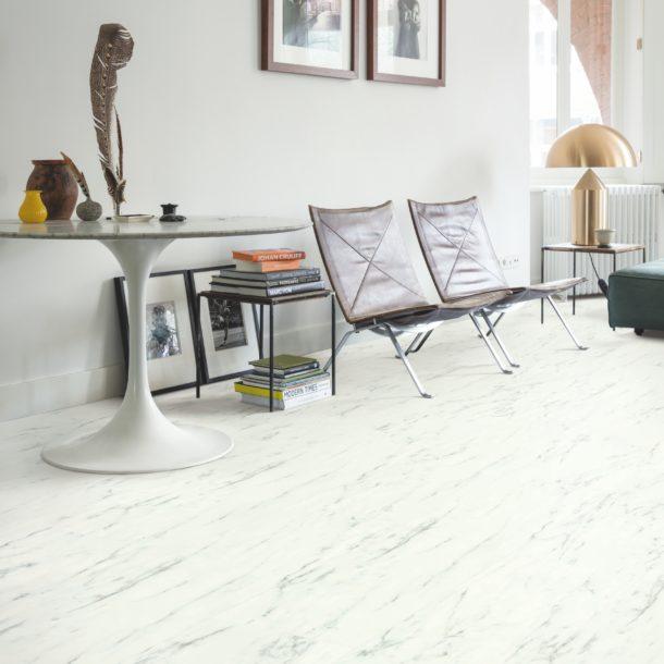 Marble Carrara White – Ambient Rigid Click luxury vinyl 610 x 303 mm Tiles
