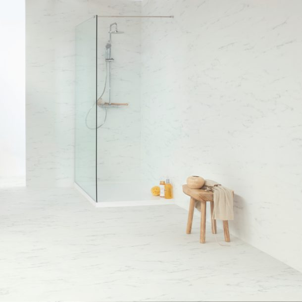 Marble Carrara White – Ambient Rigid Click luxury vinyl 610 x 303 mm Tiles