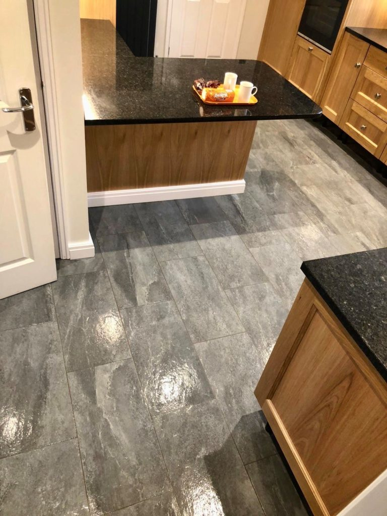 Slate style porcelain kitchen floor tile example