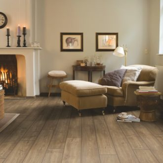 Scraped oak grey brown pet friendly waterproof laminate flooring