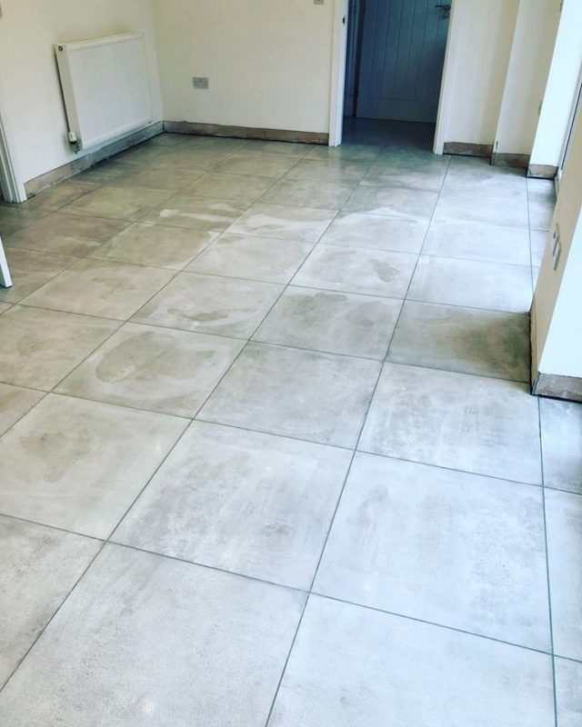 new build dining room tiling