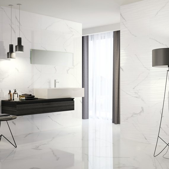 Johnson Tiles Gloss Glide White Carrara Marble 600 x 600 Porcelain Tiles