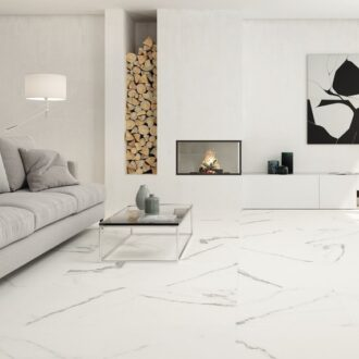 Johnson Tiles Matt Effect Glide White Carrara Marble 600 x 600 Porcelain Tiles