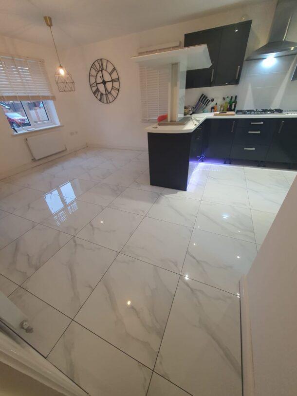 Carrara Mercury Gloss White Marble Effect Porcelain Tiles 600 x 600 mm