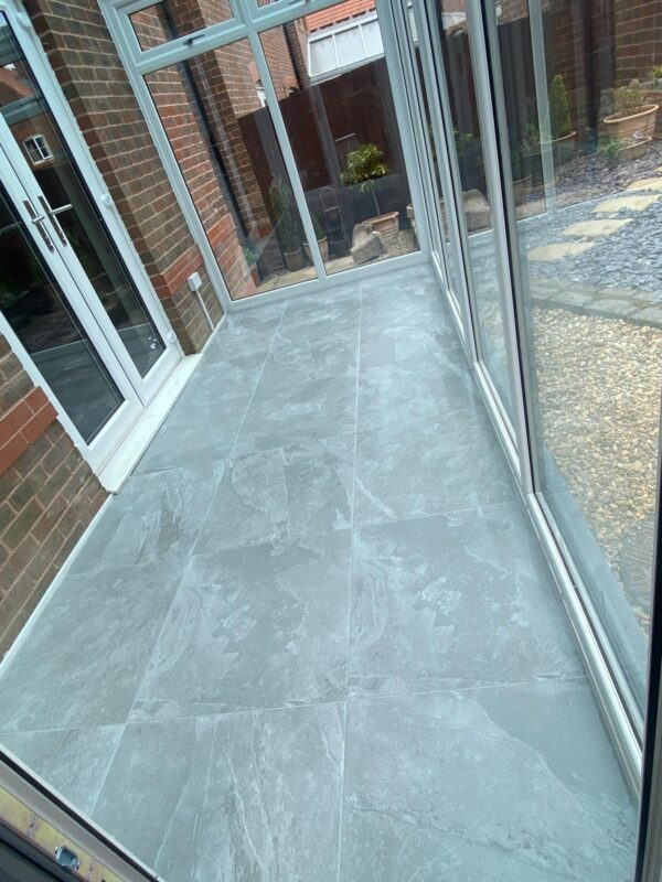 lajedo grey 60 x 60 floor tiles fitted