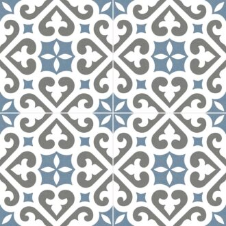 Bristol Stanmore Pattern 45 x 45 Blue Matt Porcelain Floor Tiles